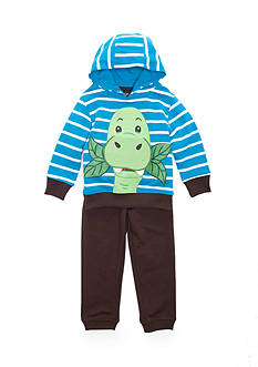 Nannette Striped Dinosaur Hoodie Top and Pant 2-Piece Set Toddler Boys