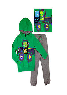 Nannette Toddler Boy Dino Truck Hoodie Set