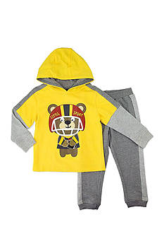 Nannette Toddler Boys Football Bear Hoodie Set