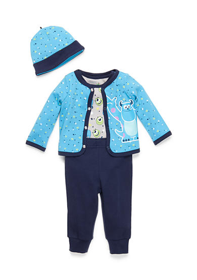 Disney Pixar 4-Piece Monster's Inc Sully and Mike Cardigan, Bodysuit, Pants, and Hat Set