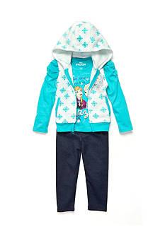 Disney Frozen Character Vest, Long Sleeve Shirt and Legging Set Toddler Girls