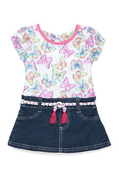 Nannette Butterfly Denim Dress Toddler Girls