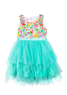 Nannette Floral and Mesh Dress Toddler Girls