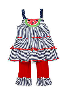 Nannette Watermelon Seersucker Tunic and Leggings 2-Piece Set Toddler Girls