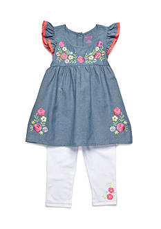 Nannette 2-Piece Chambray Embroidered Top And Twill Leggings Set Toddler Girls