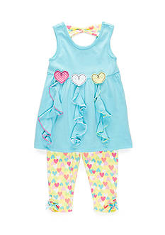 Nannette 2-Piece Ruffle Knit Top And Capri Set Toddler Girls
