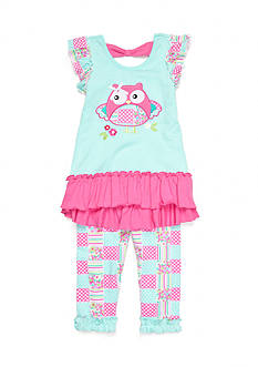 Nannette Owl Patchwork 2-Piece Legging Set Toddler Girls