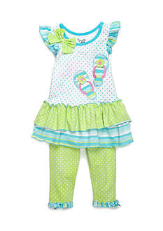 Nannette Flip Flop Dot Tunic and Legging 2-Piece Set Toddler Girls