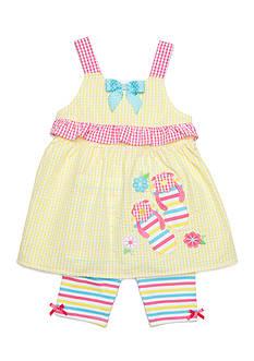 Nannette Seersucker Flip Flop Top and Shorts Set Toddler Girls