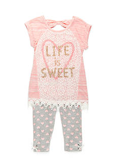 Nannette 'Life is Sweet' Tunic and Leggings Set Toddler Girls