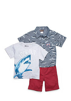 Nannette 3-Piece Shark Bait Shirt & Short Set Toddler Boys