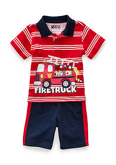 Nannette 2-Piece Fire Truck Short Set Toddler Boys