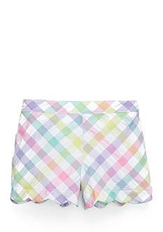 J. Khaki Seersucker Scallop Shorts Toddler Girls