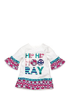 J Khaki™ Paisley 'Hip Hip Hooray' Ruffle Top Toddler Girls