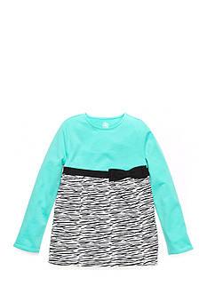 J Khaki™ Long Sleeve Zebra Print Babydoll Top Toddler Girls