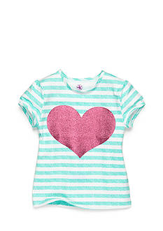 J Khaki™ Stripe Heart Top Toddler Girls