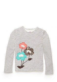 J. Khaki Polka Dot Flowers Top Toddler Girls