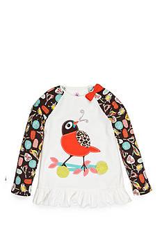 J. Khaki Bird Print Raglan Babydoll Top Toddler Girls