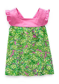 J. Khaki Palm Print Babydoll Top Toddler Girls