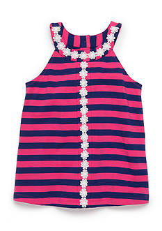 J. Khaki Crochet Trim Stripe Tank Top Toddler Girls
