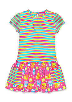 J Khaki™ Stripe to Frog Print Dress Toddler Girls