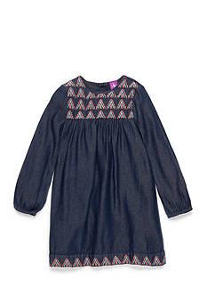 J. Khaki Denim and Embroidery Dress Toddler Girls