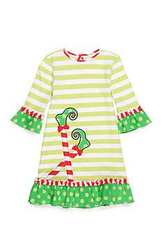 J. Khaki Stripe Elf Feet Dress Toddler Girls