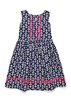 J. Khaki Embroidered Dress Toddler Girls