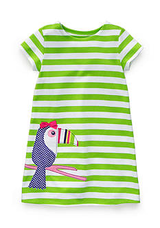 J. Khaki Toucan Stripe Dress Toddler Girls