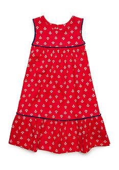 J. Khaki Anchor Print Dress Toddler Girls