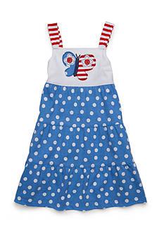 J. Khaki Butterfly Polka Dot Dress Toddler Girls