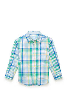 J. Khaki Long Sleeve Plaid Woven Shirt Toddler Boys