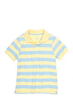 J. Khaki Short Sleeve Striped Pique Polo Toddler Boys