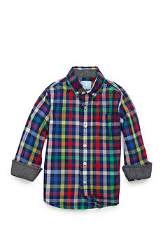 J. Khaki Plaid Woven Shirt Toddler Boys