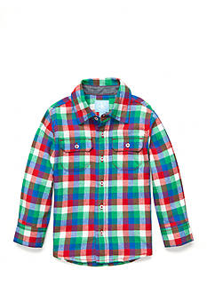 J. Khaki Gingham Button-Front Flannel Shirt Toddler Boys