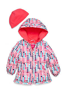 London Fog® 2-Piece Heart Print Puffer Jacket and Hat Set Toddler Girls