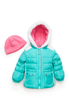London Fog Puffer Jacket Fleece Hat Set