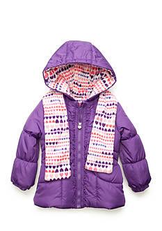 London Fog Heart Print Puffer Coat Toddler Girls