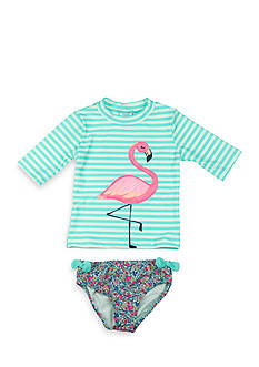 Carter's 2-Piece Flamingo Rash Guard and Floral Swimsuit Toddler Girls