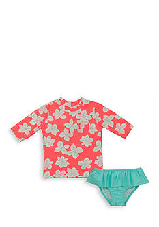 Carter's 2-Piece Floral Rash Guard and Ruffle Bottom Swimsuit Toddler Girls
