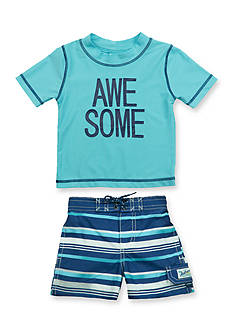Carter's 2-Piece 'Awesome' Rashguard and Swim Trunks Set