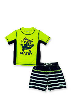 Carter's 2-Piece 'Ahoy Matey' Rashguard and Swim Trunks Set