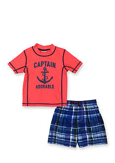 Carter's 2-Piece 'Captain Adorable' Rashguard and Swim Trunks Set