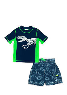 Carter's 2-Piece Dinosaur Rashguard and Swim Trunk Set