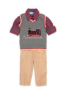 Good Lad 3-Piece Train Sweater Vest, Plaid Shirt, and Pant Set