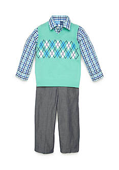 Good Lad 3-Piece Argyle Sweater Vest, Plaid Woven Shirt and Chambray Pant Set Toddler Boys