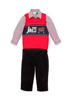 Good Lad Train Applique Sweater Vest Set Toddler Boys