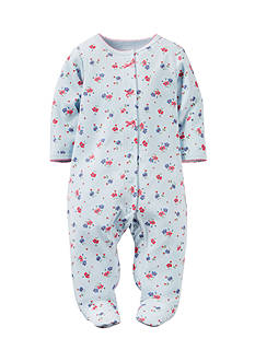 Carter's® Infant Girls Blue Floral 1-Piece Footed Pajamas