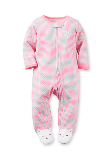 Carter's® Infant Pink Floral Cat 1-Piece Footed Pajamas