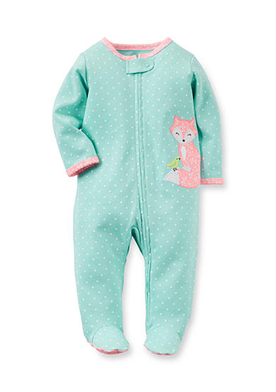 Carter's® Infant Blue Polka Dot Fox 1-Piece Footed Pajamas